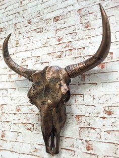 Bullenschädel Kupfer antik Stierkopf Skulptur Figur Stier Hörner Bulle WOW