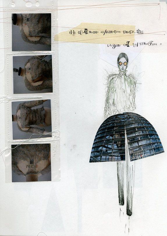 Fashion Sketchbook layout - architecture inspired fashion design drawing & textile design development; fashion portfolio // Siobhan Marie O'Keeffe
