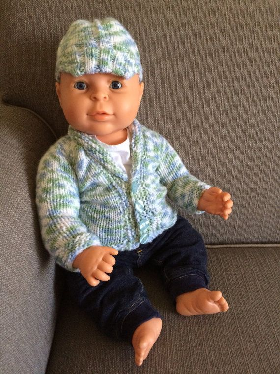 Baby Boy Cardigan and Newsboy Hat Hand Knit by CozeeQuilts on Etsy