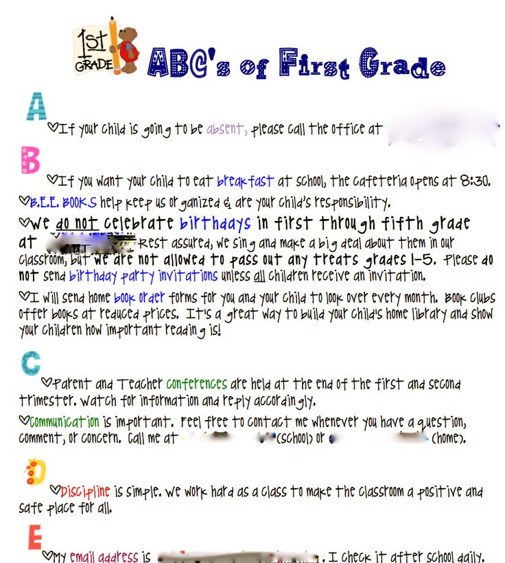 ABC's parent info. sheet for beginning of year...great idea for Parent Handbook: Teaching Idea, Phones Numbers, Grade Bees, Bees Book, Schools Idea, 1St Grades, Teaching Teacher, First Grade, 3Rd Grade