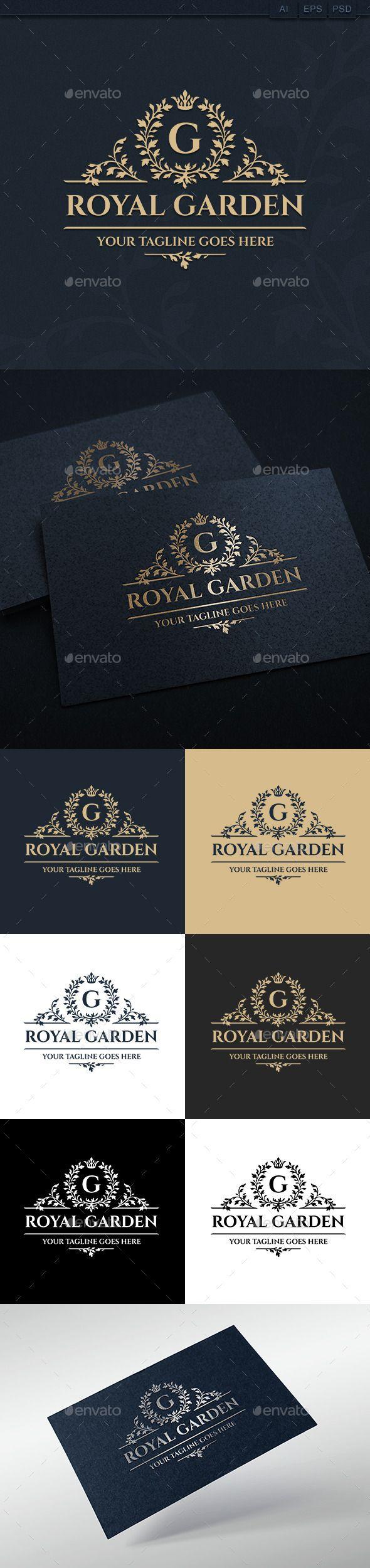 Royal Garden (Vector EPS, AI Illustrator, Resizable, CS, arts, cafe, club, company, creative, crown, decorative, elegant, emblem, fashion, florist, flower shop, foliage, garden, herb, hotel, jewellery, letter, luxurious logo, luxury, majestic, mark, ornament, real estate, restaurant, royal logo, royalty, shop, team)
