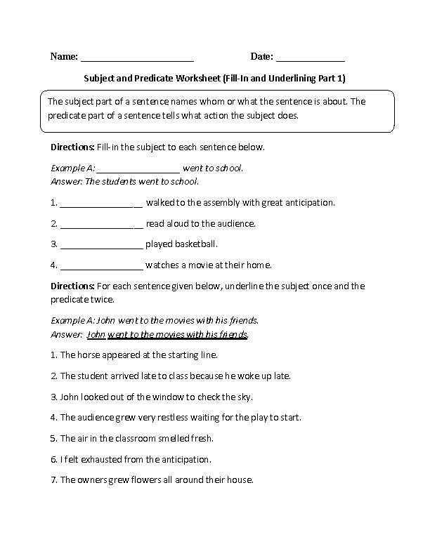Englishlinx.com   Subject and Predicate Worksheets