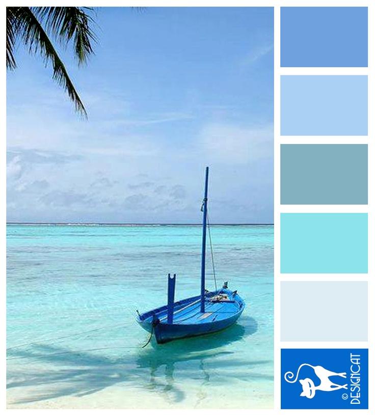 Ocean Blue - Blue, slate, sky, tiffany, royal, steel - Designcat Colour Inspiration Pallet