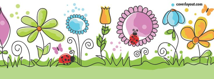 Ladybugs Butterfly Flowers Facebook Cover CoverLayout.com