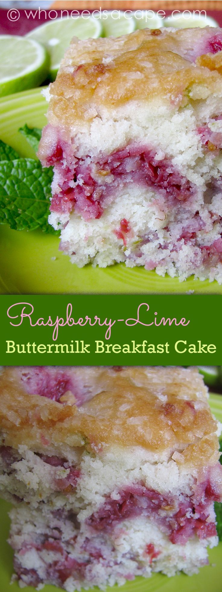 Raspberry-Lime Buttermilk Breakfast Cake perfect for every brunch, shower or just a sunday morning!