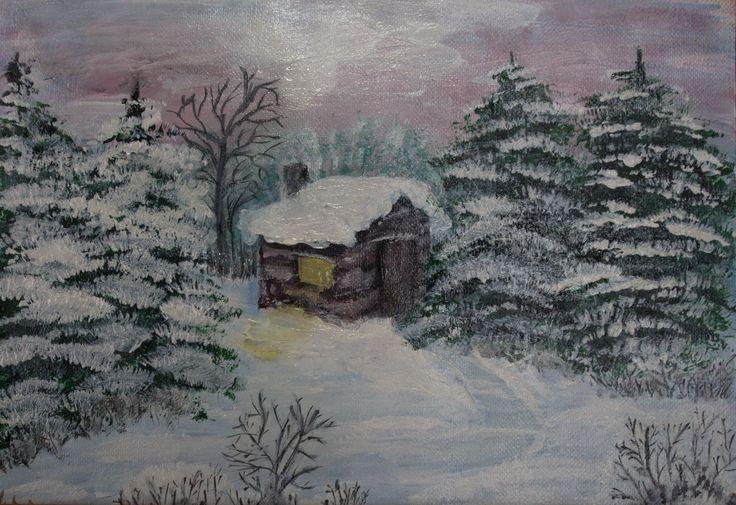 Iarna la munte - acrilice (15x20cm) Winter mountain by                   Veronica Ciobanu