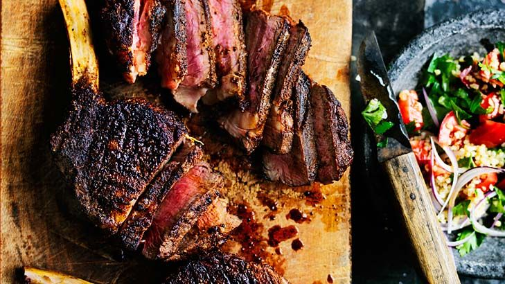 Neil Perry's barbecued rib-eye marinated with baharat.