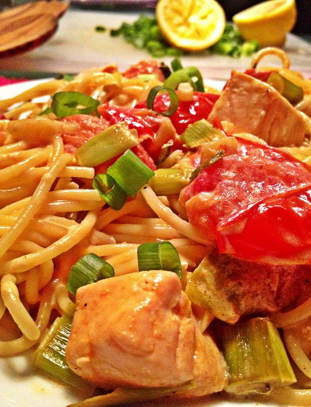 Pasta al Salmone – German style   Fusion food from Germany: Pasta with salmon, spring onions, chili and cream- a common way to prepare it in Germany.
