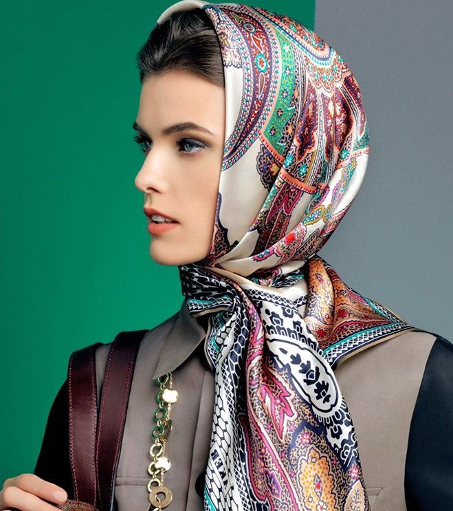 Silk head scarf, wrapped at neck