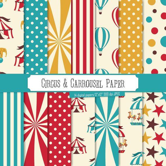 Buy 2 Get 1 Free! Digital Paper Circus & Carrousel Paper