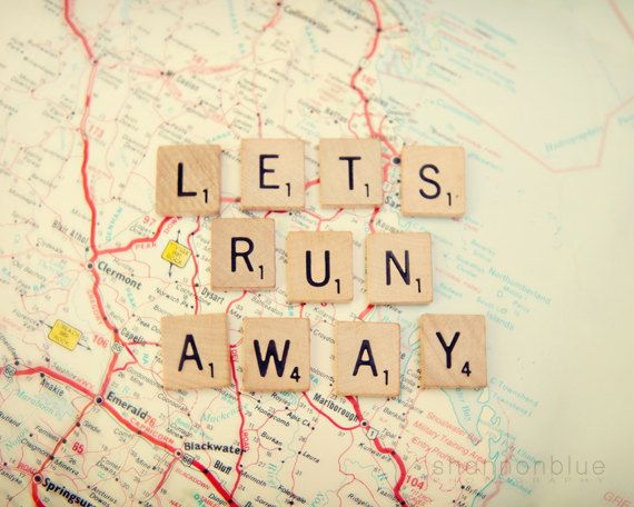 travel photograph / map, wanderlust, adventure, escape, scrabble tiles, letters, print / let's run away / 8x 10 fine art photo (from etsy)