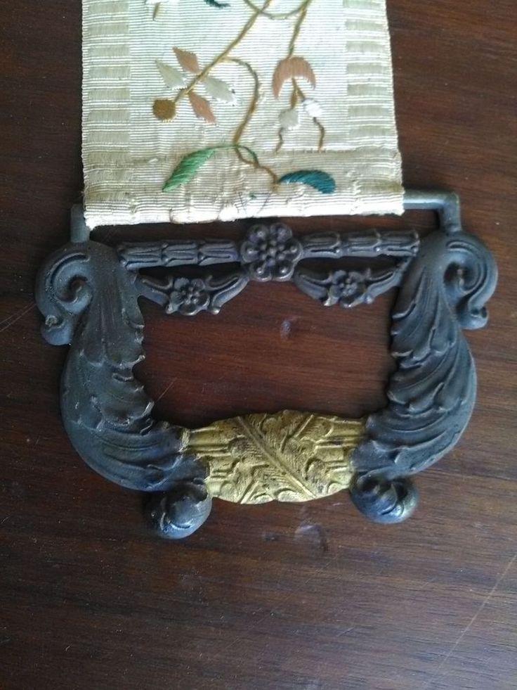 Rare tire sonnette ancien entièrement brodé poignée bronze fin 19ème broderie