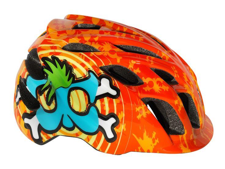 Kali Protectives CHAKRA Child Helmet Spiral Orange/Blue #kaliprotectives #kalipro #kali #helmet #chakrachild #chakra #protectivegear #bike #bicycles #mowhawks #crossbone #blue #green #spiral #childhelmet