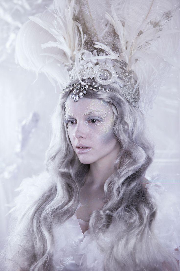Snow and Ice Queen Fantasy Makeup: Hannah King (@makeupbyhannahk), Model: Grace Monck, Photographer: @truebeautyphotodesign, Headdress: @indigorosedesign