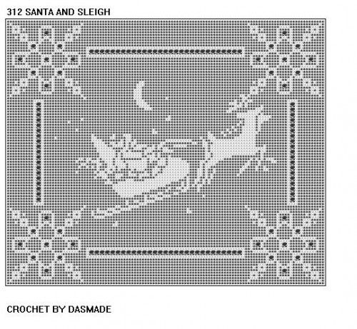 SANTA SLEIGH FILET CROCHET DOILY PATTERN NEW DESIGN #312