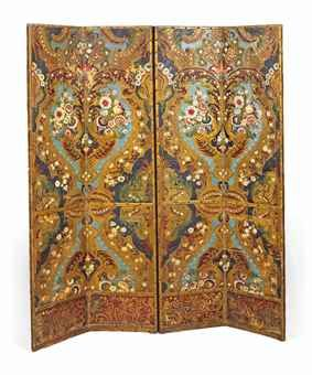 A SPANISH LEATHER POLYCHROME DECORATED FOUR-FOLD SCREEN 19TH CENTURY  Each panel embossed with flowers and foliate scrolls within diaper-work cartouches, close-nailed borders 72 3/8 in. (184 cm.) high; 62 in. (157.5 cm.) wide, fully extend