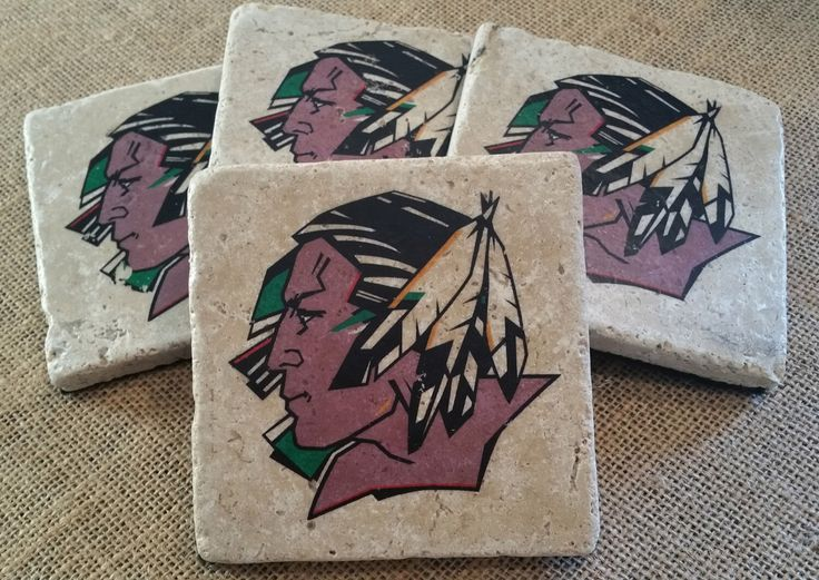 UND Fighting Sioux Travertine Tile Coasters - Set of 4 - FREE SHIPPING by SiouxForever on Etsy https://www.etsy.com/listing/256974267/und-fighting-sioux-travertine-tile