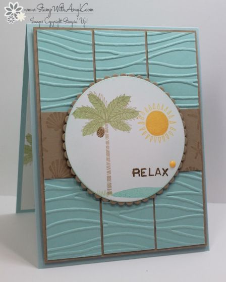 I used the Stampin' Up! Totally Trees stamp set from the upcoming 2016 Holiday Catalog to create a fun beach card to share with you today.  My card design was inspired by Viva La Verve August 2106 Ske