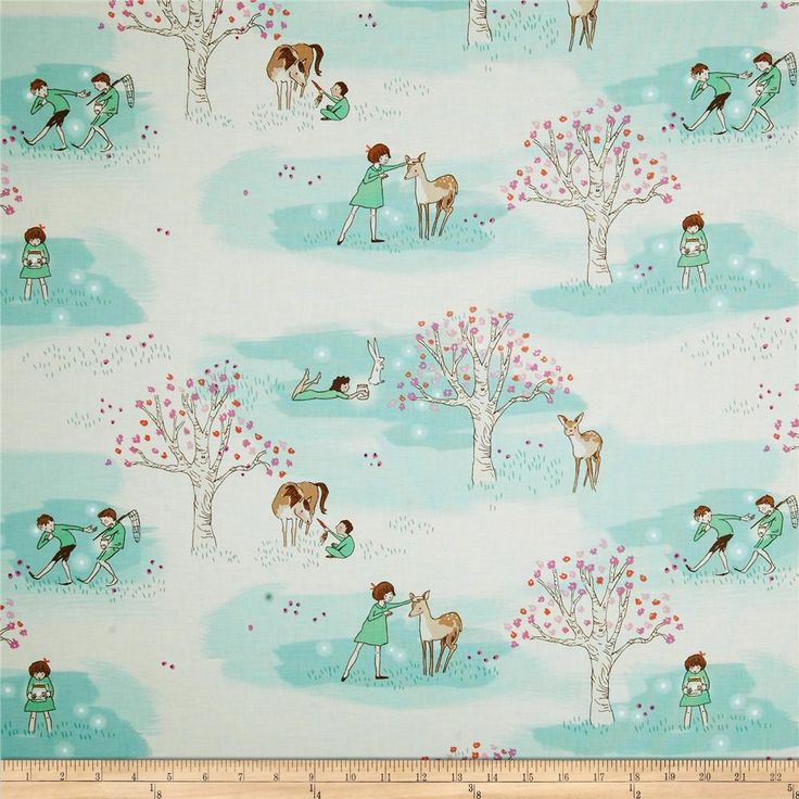 Designed by Sarah Jane for Michael Miller, this cotton print is perfect for quilting, apparel and home decor accents.  Colors include off white, aqua, mint, pink, purple, coral and brown.