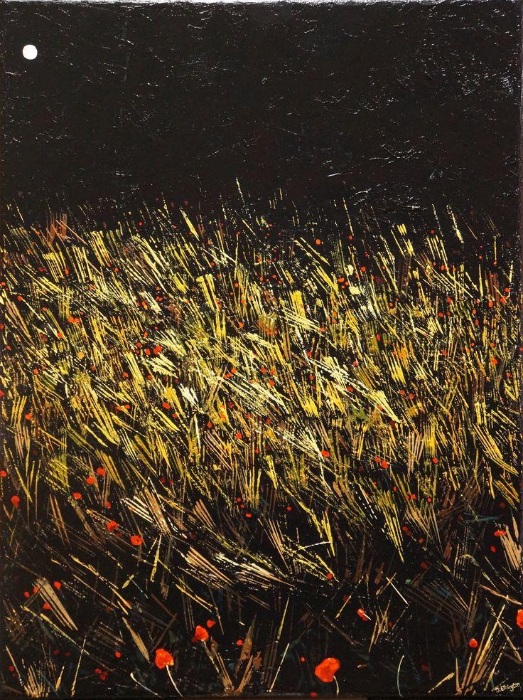 'Glowing Field', oil on canvas, 30 x 40cm. www.jeremyelkington.weebly.com For sale at: www.bluethumb.com