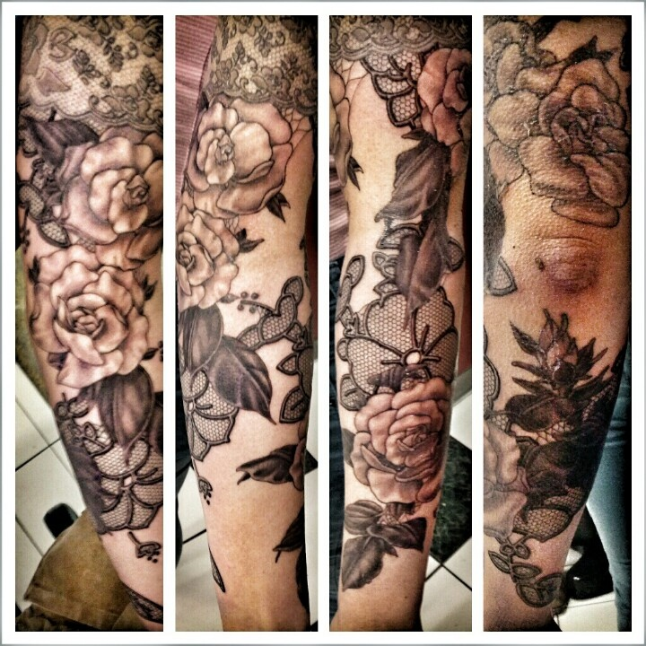 25 best ideas about lace flower tattoos on pinterest for Lace half sleeve tattoo