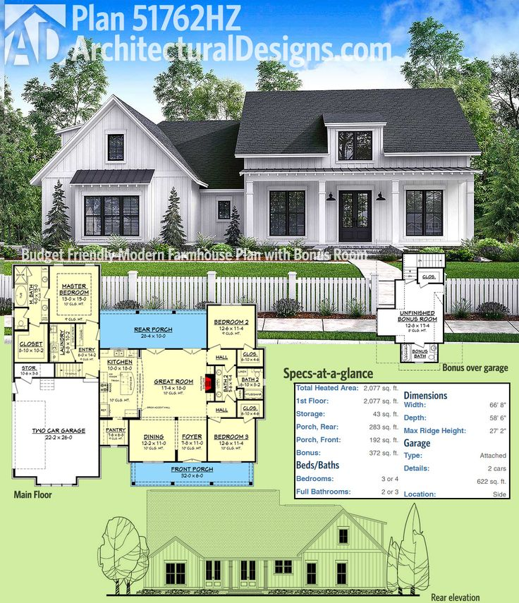Plan 51762hz Budget Friendly Modern Farmhouse With Bonus Room Architectural Designs Editor S Picks Pinterest House Plans And