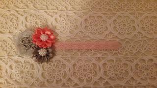 Headbandslatina              : Banda Rosa con flores rosadas y grises