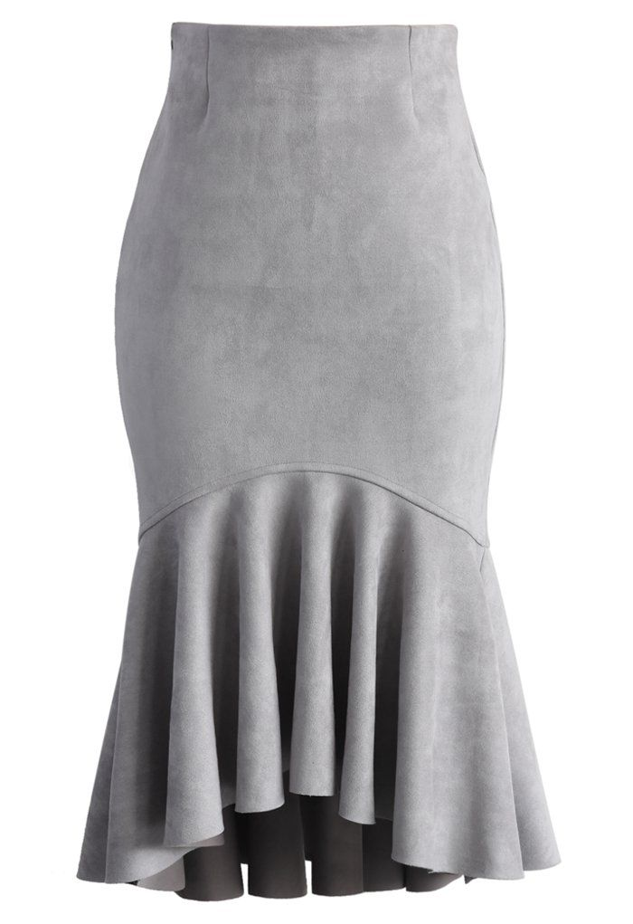 Sassy Suede Frill Hem Skirt in Grey - Bottoms - Retro, Indie and Unique Fashion