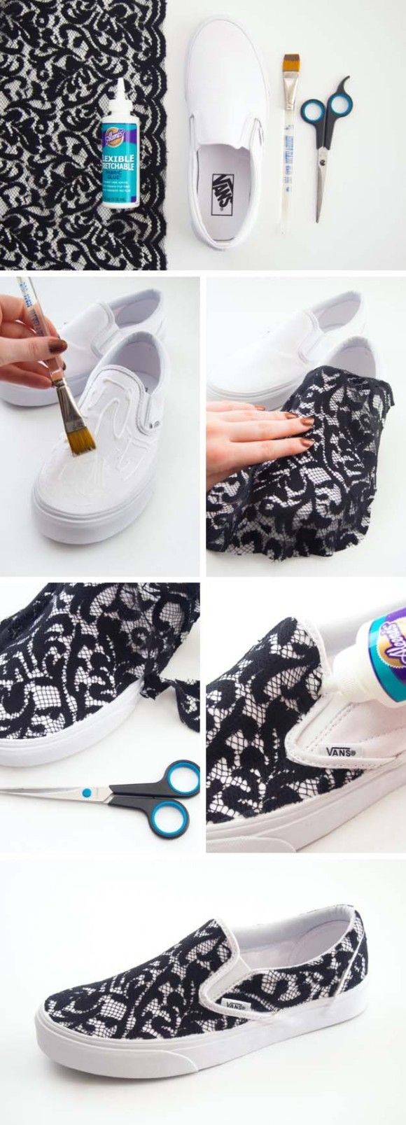 Cool DIY Fashion Ideas   Fun Do It Yourself Fashion projects   Learn how to refashion and sew jeans, T-shirts, skirts, and more   Lace Slip-on Sneakers   http://diyprojectsforteens.com/cool-diy-fashion-ideas/