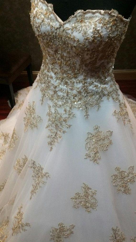 Gold And White Wedding Dress Gold Wedding Dress Gold Bridal Etsy Gold Lace Wedding Dress Royal Wedding Dress Gold Bridal Gowns