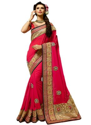 Pink Color Net & Georgette Saree. By Saryu Sarees on Shimply.com