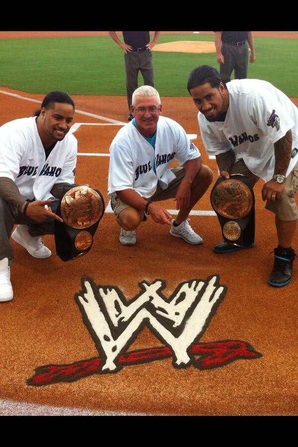 Photo: Scott Armstrong And The Usos At The Pensacola Blue Wahoos ...