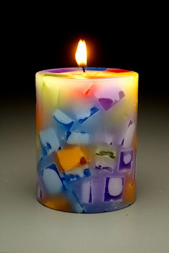 Rainbow Mosaic Pillar Candle от CosmicCandleCo на Etsy