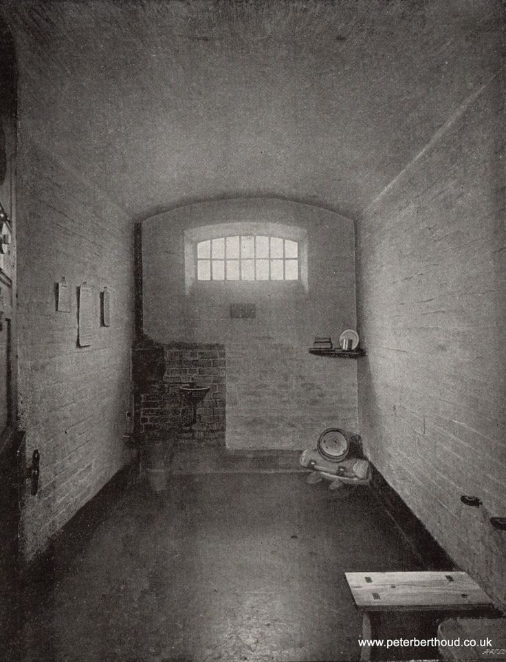 Prison meals consisted of bread and oatmeal. Avoid the black spots; those are rodent droppings. (A Cell in Newgate Prison)