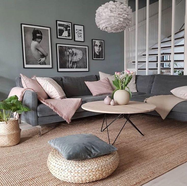Grau Und Naturlich Mit Rose Wohnzimmer Dekor