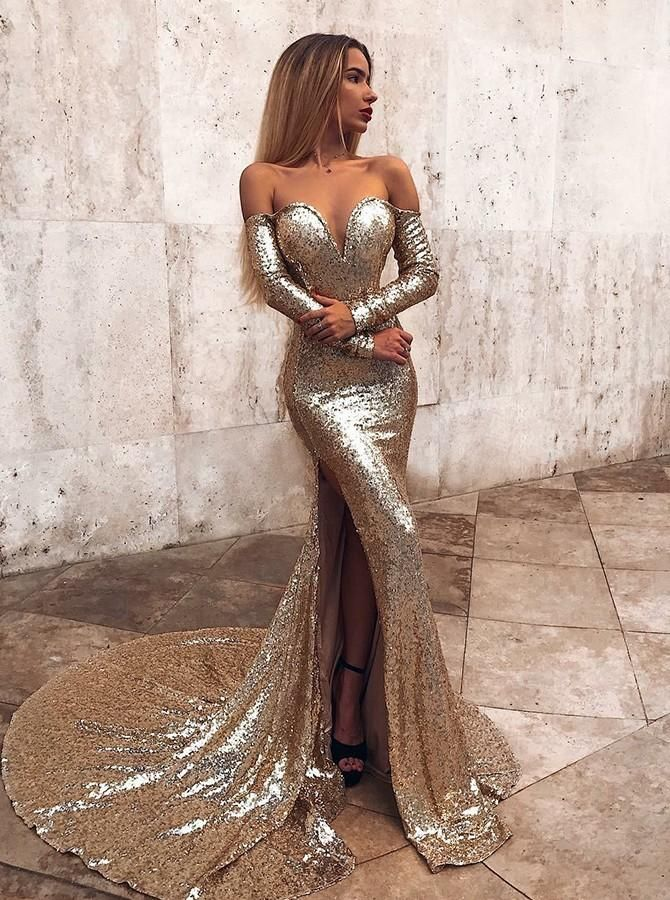 7d8034289a Long Sleeves Gold Mermaid Off Shoulder Prom Dress in 2019 | Cheap ...