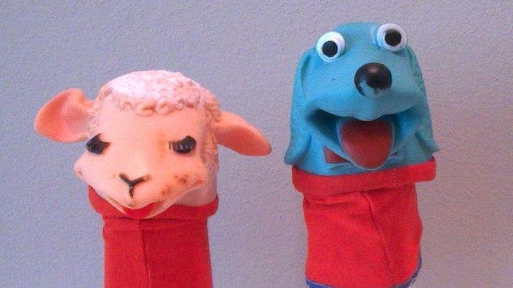 Vintage 1960 TARCHER Rare Hush Puppy and Lamb Chop Vinyl Rubber Sock Hand Puppet