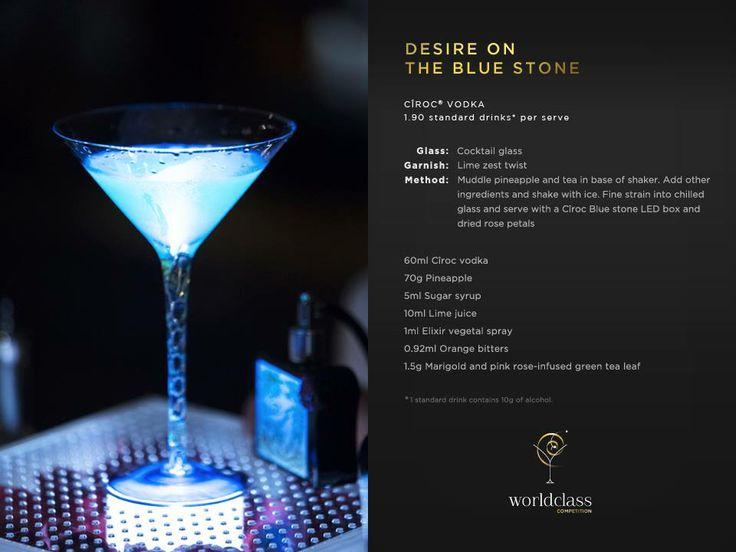 """""""Desire on the Blue Stone"""" es un coctel que contiene ingredientes como piña, lima, orange bitters y el celebrado vodka CIROC. Sabroso y afrutado, esta creación del surcoreano y Finalista Mundial 2013 Sung Min Park es deliciosa y refrescante"""