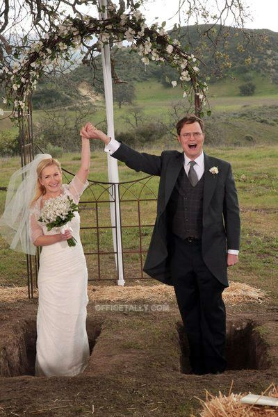 """The Schrutes get married standing in their own graves. It makes the funerals very romantic. But the weddings are a bleak affair."""