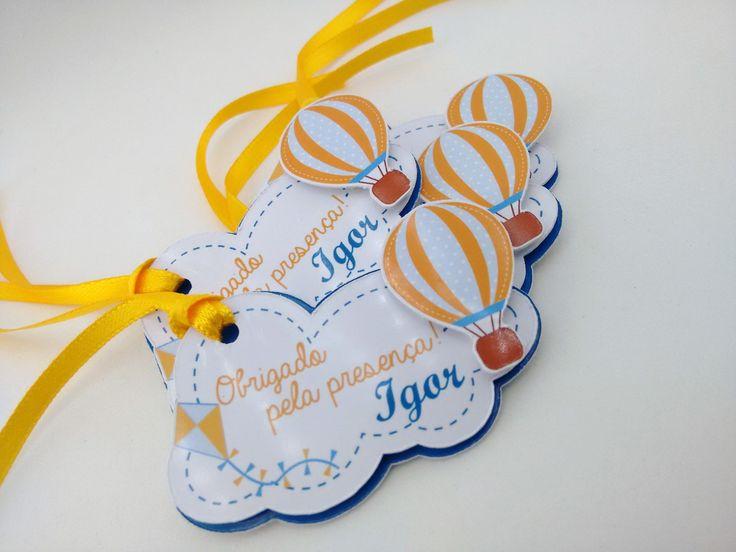 Tag Pipas e Balões    Ideal para pendurar em lembrancinhas, sacolinhas, saquinhos.  Em papel brilho, com relevos. Excelente acabamento.    Acompanha fita de cetim, conforme foto.    Fazemos em outros temas e cores, consulte!