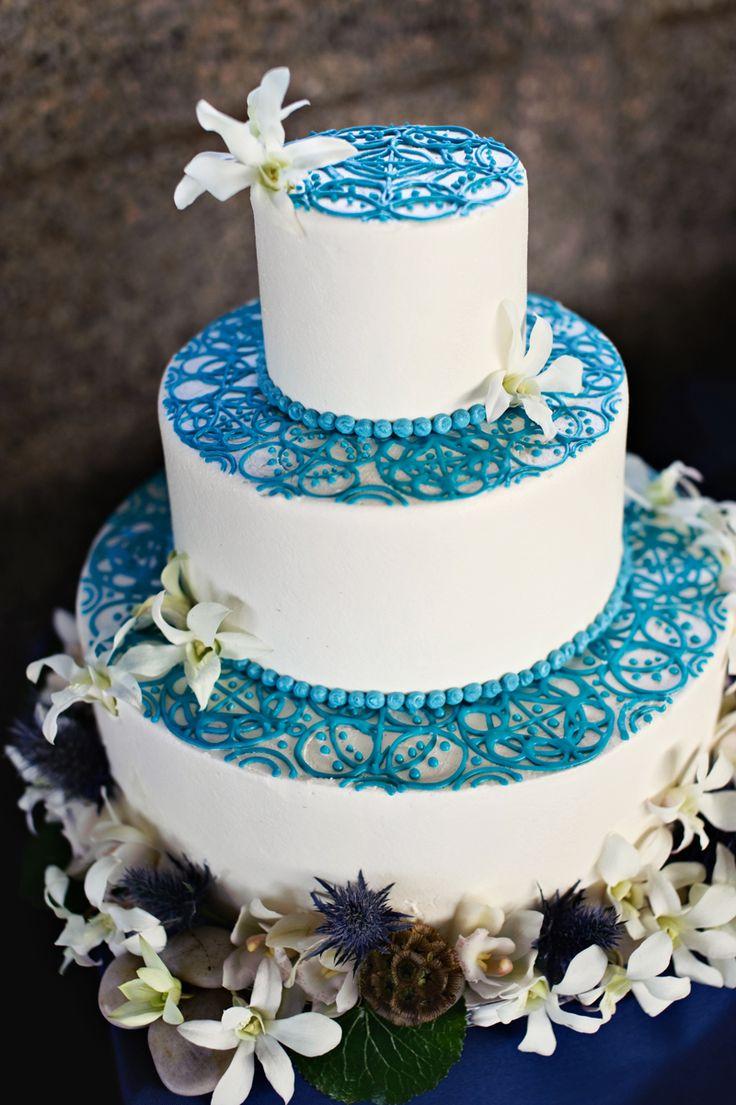 wedding cake: White Cake, Ocean Theme, Blue Wedding Cake, White Wedding Cake, Cake Design, Blue Lace, Wedding Cakes, Blue Cake, Wedding Design