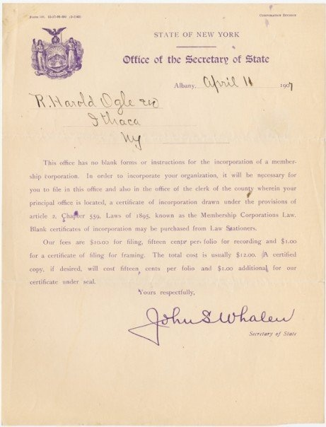 """Alpha Phi Alpha, founded 1906 Cornell University:  Correspondence to Jewel Robert Harold Ogle (one of seven founders """"Jewels"""") detailing the process to incorporate the Fraternity from the Alpha Phi Alpha Fraternity, Inc. Centennial archive exhibit at Cornell University."""