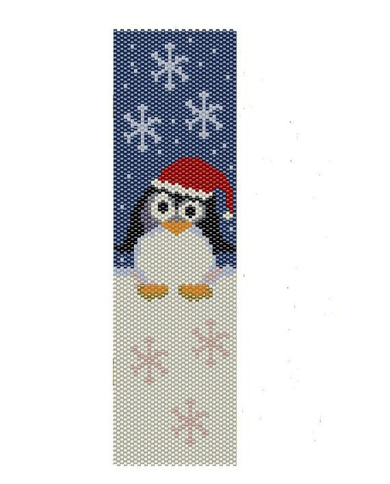 Christmas+Penguin+peyote+pattern+seed+beads+por+BeadingWonders,+$3.50