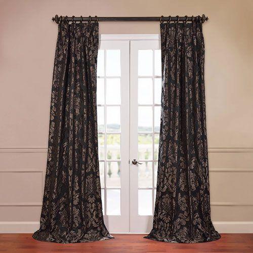 Half Price Drapes Astoria Black 50 X 84 Inch Jacquard Curtain Jqch 201301 84