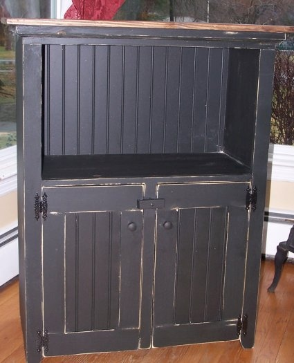 Primitive Kitchen Cabinet- great to get microwave off the counter.