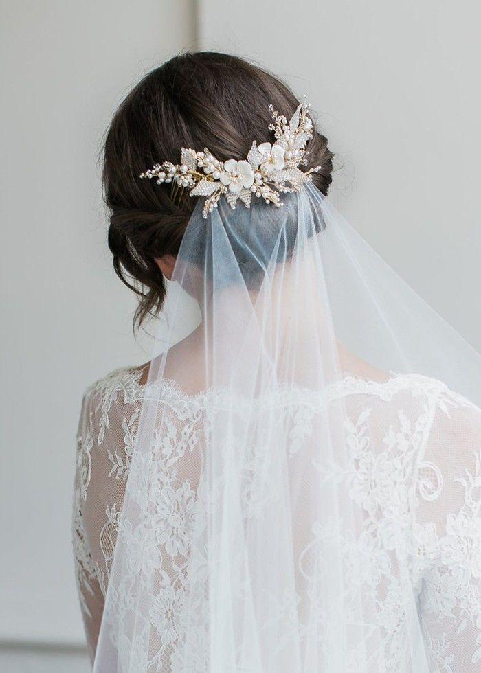 Brautschmuck haare mit schleier  Die besten 25+ Brautfrisuren mit schleier Ideen auf Pinterest ...