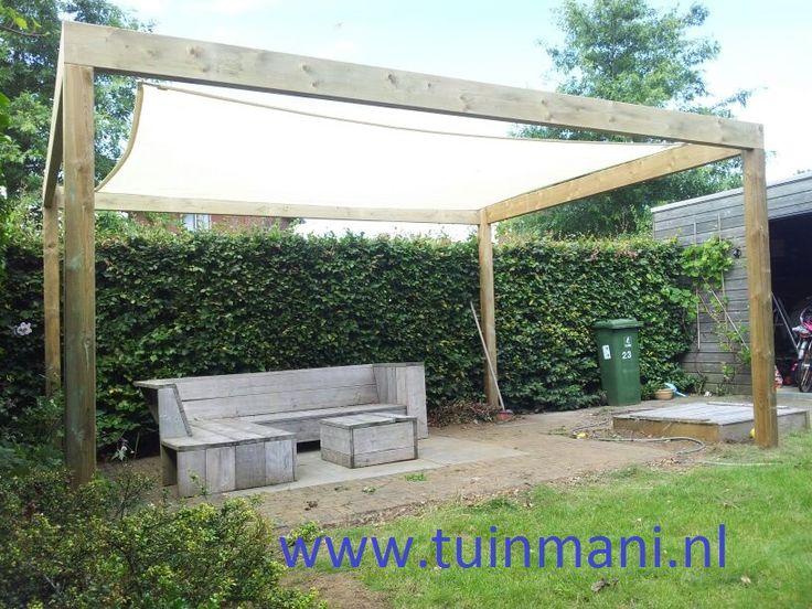 zonnedoek doek prieel geeft een fijne plek om in schaduw te zitten. Geeft een sfeervolle uitstraling aan uw tuin en terras @tuinmani #tuinmani www.tuinmani.nl