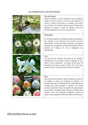 Les symboles de Pâques fiche d'exercices - Fiches pédagogiques gratuites FLE