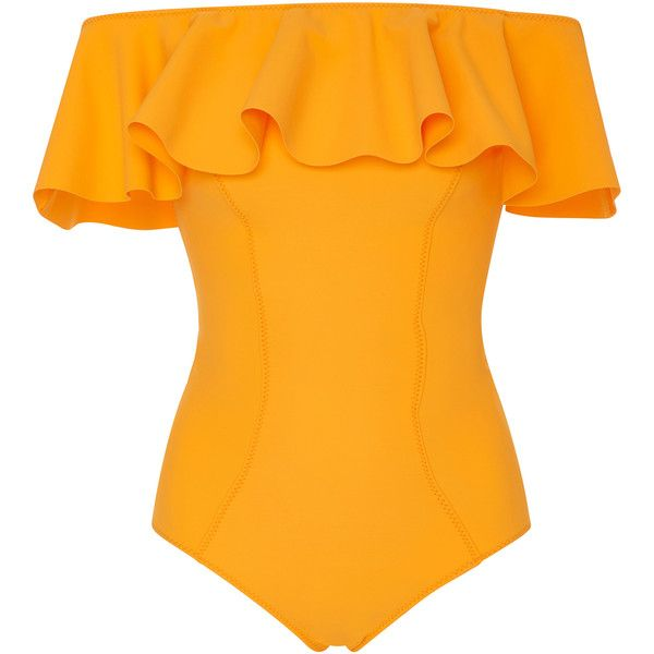Lisa Marie Fernandez Mira Flounce Off-The-Shoulder Ruffled Swimsuit ($430) ❤ liked on Polyvore featuring swimwear, one-piece swimsuits, yellow, off the shoulder swimsuit, swim suits, ruffle bathing suit and ruffle swimsuit
