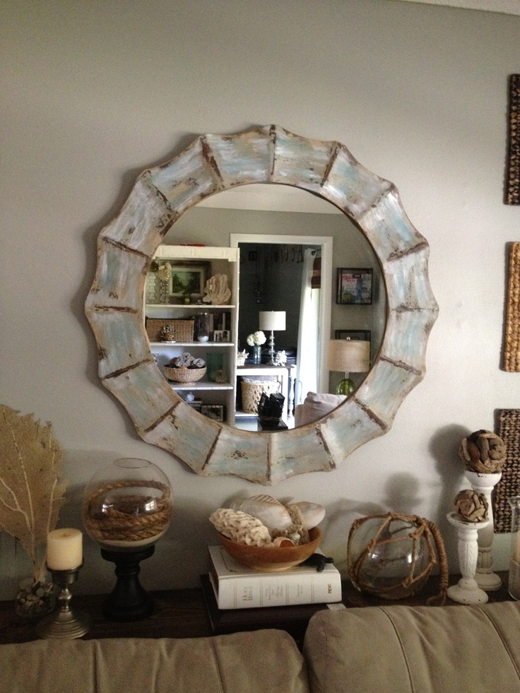 Family room mirror sofa table decor home decor ideas for Console table decor ideas